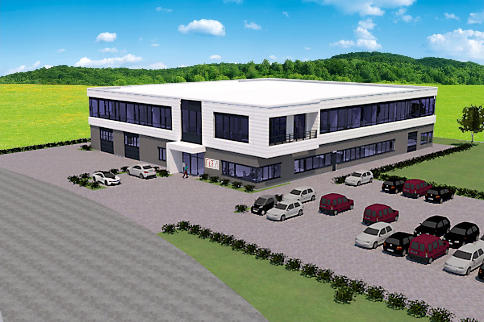 3D Rendering neue RT-Firmenzentrale Rheine Jacksonring 4 mit Wiese