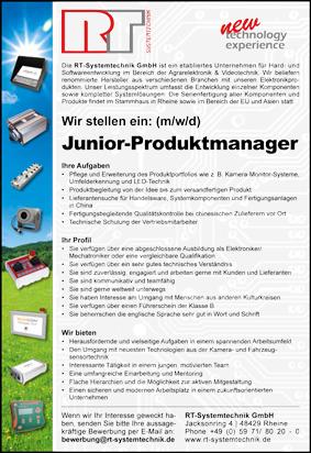 Wir stellen ein Junior-Produktmanager (m/w) für sofort