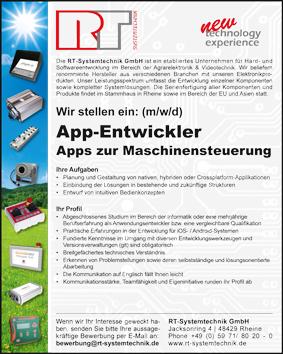 Anzeige App-Entwickler Maschinensteuerung